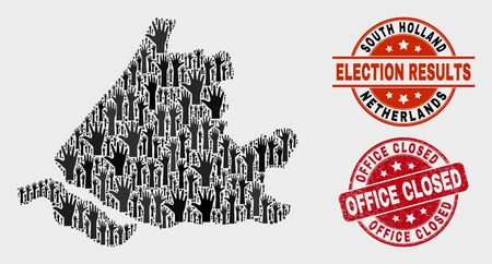 Election South Holland map and seals. Red rounded Office Closed grunge stamp. Black South Holland map mosaic of upwards selection hands. Vector composition for election results, Çizim