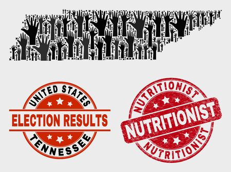 Voting Tennessee State map and watermarks. Red rounded Nutritionist textured seal. Black Tennessee State map mosaic of raised like hands. Vector collage for election results, with Nutritionist seal.  イラスト・ベクター素材