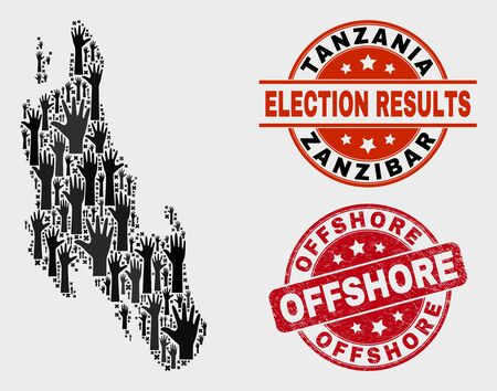 Ballot Zanzibar Island map and seals. Red round Offshore scratched watermark. Black Zanzibar Island map mosaic of upwards raising hands. Vector composition for ballot results, with Offshore watermark.
