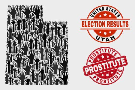 Vote Utah State map and seal stamps. Red rounded Prostitute grunge seal. Black Utah State map mosaic of upwards voting arms. Vector composition for referendum results, with Prostitute imprint. Ilustração
