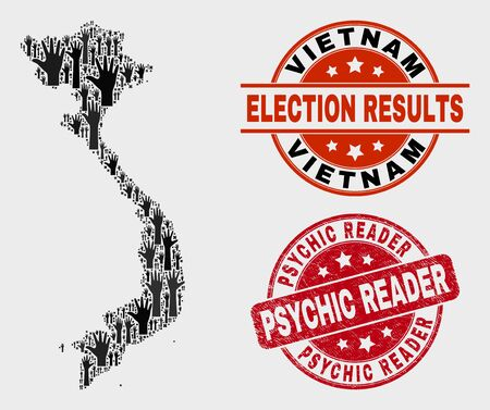 Election Vietnam map and watermarks. Red rounded Psychic Reader scratched seal. Black Vietnam map mosaic of upwards volunteer hands. Vector combination for election results,