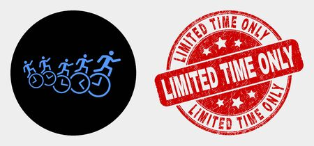 Rounded people run over clocks icon and Limited Time Only stamp. Red round grunge seal stamp with Limited Time Only caption. Blue people run over clocks icon on black circle. Banque d'images - 125878455