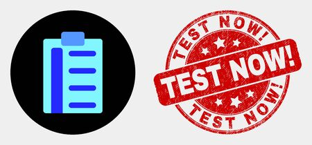 Rounded pad list items icon and Test Now! seal stamp. Red rounded grunge seal stamp with Test Now! caption. Blue pad list items icon on black circle.