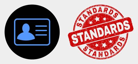 Rounded user card icon and Standards seal stamp. Red rounded textured seal stamp with Standards text. Blue user card symbol on black circle. Vector composition for user card in flat style.