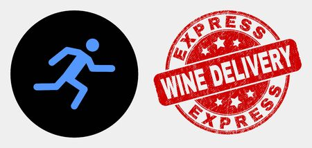 Rounded running man icon and Express Wine Delivery seal stamp. Red rounded grunge stamp with Express Wine Delivery caption. Blue running man icon on black circle.