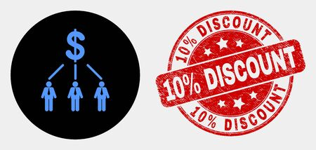 Rounded dollar managers links icon and 10% Discount seal stamp. Red rounded scratched seal stamp with 10% Discount caption. Blue dollar managers links symbol on black circle.