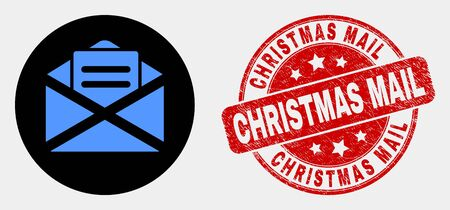 Rounded open mail icon and Christmas Mail watermark. Red rounded grunge seal stamp with Christmas Mail caption. Blue open mail icon on black circle. Vector composition for open mail in flat style.