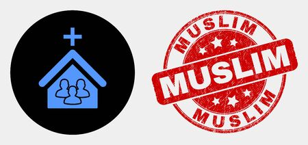 Rounded church people icon and Muslim seal stamp. Red round scratched seal stamp with Muslim text. Blue church people symbol on black circle. Vector composition for church people in flat style. Çizim