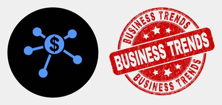 Rounded dollar links icon and Business Trends stamp. Red rounded distress seal stamp with Business Trends caption. Blue dollar links icon on black circle. Illustration