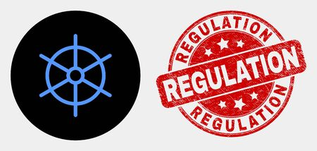 Rounded ship rule wheel icon and Regulation seal. Red rounded distress seal stamp with Regulation text. Blue ship rule wheel icon on black circle. Vector composition for ship rule wheel in flat style.