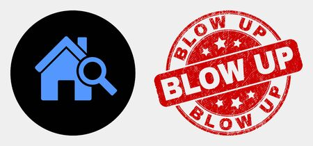 Rounded explore realty icon and Blow Up stamp. Red rounded textured stamp with Blow Up text. Blue explore realty icon on black circle. Vector composition for explore realty in flat style. 向量圖像