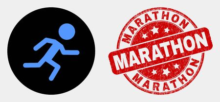 Rounded running boy icon and Marathon seal. Red rounded textured seal with Marathon text. Blue running boy icon on black circle. Vector composition for running boy in flat style.
