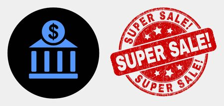Rounded dollar bank office pictogram and Super Sale! seal stamp. Red rounded grunge seal stamp with Super Sale! caption. Blue dollar bank office symbol on black circle.