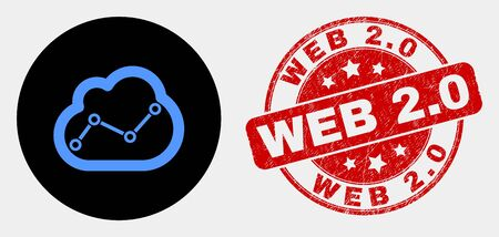 Rounded chart cloud icon and Web 2.0 seal stamp. Red round textured seal with Web 2.0 text. Blue chart cloud icon on black circle. Vector combination for chart cloud in flat style.