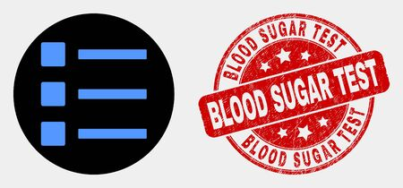Rounded list items icon and Blood Sugar Test seal stamp. Red rounded scratched seal with Blood Sugar Test caption. Blue list items icon on black circle.
