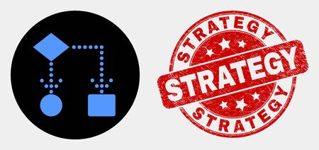 Rounded block diagram icon and Strategy watermark. Red rounded scratched watermark with Strategy text. Blue block diagram icon on black circle. Vector composition for block diagram in flat style.