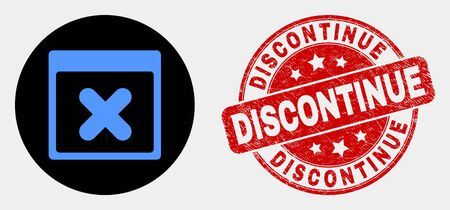 Rounded close application window icon and Discontinue seal. Red rounded scratched seal stamp with Discontinue caption. Blue close application window icon on black circle.
