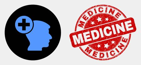 Rounded head medicine icon and Medicine watermark. Red rounded scratched seal stamp with Medicine caption. Blue head medicine icon on black circle. Vector composition for head medicine in flat style. Illustration