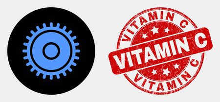 Rounded cog icon and Vitamin C seal stamp. Red rounded scratched seal stamp with Vitamin C text. Blue cog icon on black circle. Vector combination for cog in flat style. 写真素材 - 125933014