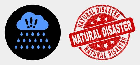 Rounded strong rain clouds icon and Natural Disaster seal. Red rounded textured seal stamp with Natural Disaster caption. Blue strong rain clouds icon on black circle.