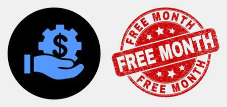Rounded financial service offer hand pictogram and Free Month seal stamp. Red rounded distress seal stamp with Free Month text. Blue financial service offer hand symbol on black circle.