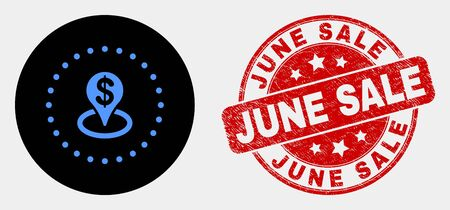 Rounded bank placement icon and June Sale seal. Red rounded distress seal with June Sale text. Blue bank placement icon on black circle. Vector composition for bank placement in flat style.