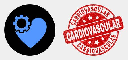 Rounded heart gear pictogram and Cardiovascular stamp. Red rounded grunge stamp with Cardiovascular text. Blue heart gear symbol on black circle. Vector composition for heart gear in flat style.