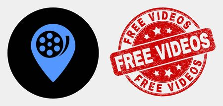 Rounded movie map marker icon and Free Videos seal. Red rounded distress seal with Free Videos caption. Blue movie map marker icon on black circle. Ilustração