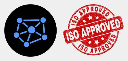 Rounded relations icon and ISO Approved seal stamp. Red rounded textured stamp with ISO Approved text. Blue relations symbol on black circle. Vector composition for relations in flat style. Illustration