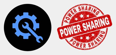 Rounded service tools icon and Power Sharing seal. Red rounded scratched seal with Power Sharing caption. Blue service tools icon on black circle. Vector combination for service tools in flat style. Иллюстрация