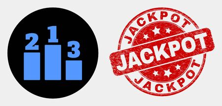 Rounded prize places pictogram and Jackpot seal. Red rounded distress seal stamp with Jackpot text. Blue prize places icon on black circle. Vector combination for prize places in flat style.