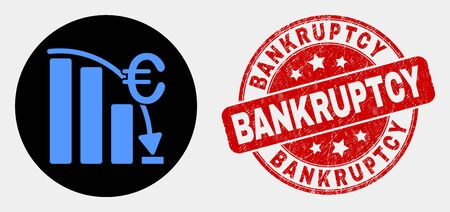 Rounded euro crisis chart icon and Bankruptcy seal. Red rounded textured watermark with Bankruptcy caption. Blue euro crisis chart icon on black circle. Ilustração