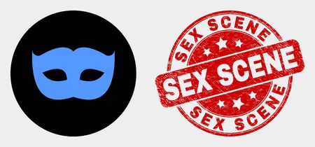 Rounded private mask icon and Sex Scene seal. Red rounded distress seal with Sex Scene text. Blue private mask symbol on black circle. Vector composition for private mask in flat style.