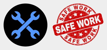 Rounded wrenches icon and Safe Work watermark. Red round scratched watermark with Safe Work caption. Blue wrenches icon on black circle. Vector combination for wrenches in flat style.