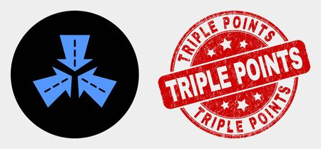 Rounded triple roads intersection icon and Triple Points seal. Red rounded scratched seal stamp with Triple Points text. Blue triple roads intersection icon on black circle. Ilustrace