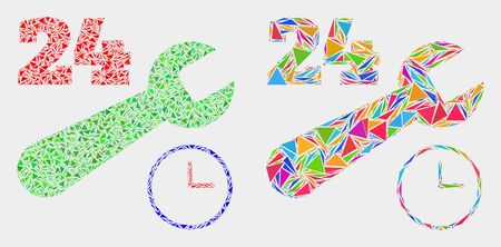 24-7 repair service collage icon of triangle items which have different sizes and shapes and colors. Geometric abstract vector design concept of 24-7 repair service.