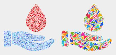 Blood donation hand collage icon of triangle elements which have various sizes and shapes and colors. Geometric abstract vector illustration of blood donation hand. Ilustração
