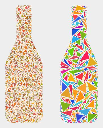 Beer bottle collage icon of triangle elements which have different sizes and shapes and colors. Geometric abstract vector illustration of beer bottle.