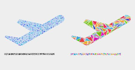 Airplane takeoff mosaic icon of triangle items which have different sizes and shapes and colors. Geometric abstract vector illustration of airplane takeoff.