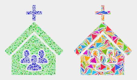 Church people mosaic icon of triangle elements which have variable sizes and shapes and colors. Geometric abstract vector illustration of church people. Çizim