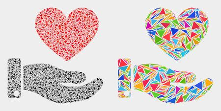 Heart donation hand collage icon of triangle items which have variable sizes and shapes and colors. Geometric abstract vector illustration of heart donation hand. Ilustração