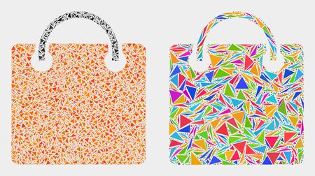 Shopping bag mosaic icon of triangle elements which have variable sizes and shapes and colors. Geometric abstract vector design concept of shopping bag.