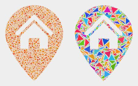 House map marker mosaic icon of triangle items which have variable sizes and shapes and colors. Geometric abstract vector design concept of house map marker. Vettoriali