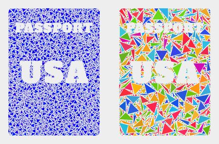 USA passport collage icon of triangle elements which have variable sizes and shapes and colors. Geometric abstract vector illustration of USA passport.