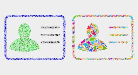 User card collage icon of triangle elements which have various sizes and shapes and colors. Geometric abstract vector illustration of user card.