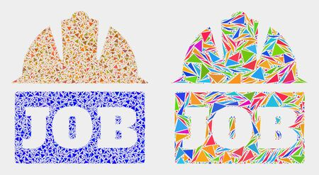 Job helmet collage icon of triangle items which have various sizes and shapes and colors. Geometric abstract vector illustration of job helmet.