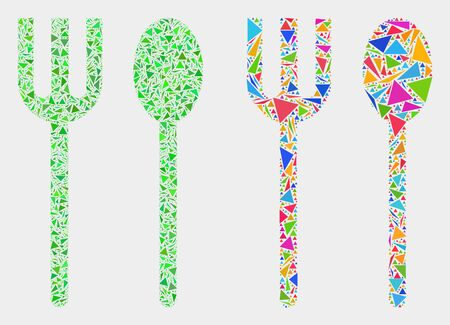 Spoon and fork mosaic icon of triangle items which have variable sizes and shapes and colors. Geometric abstract vector illustration of spoon and fork. Vettoriali