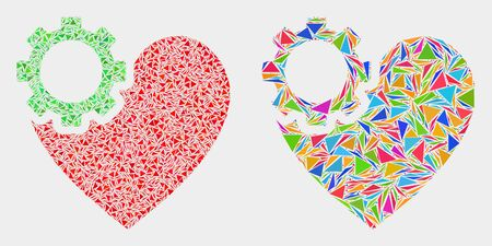 Heart gear mosaic icon of triangle items which have various sizes and shapes and colors. Geometric abstract vector illustration of heart gear.