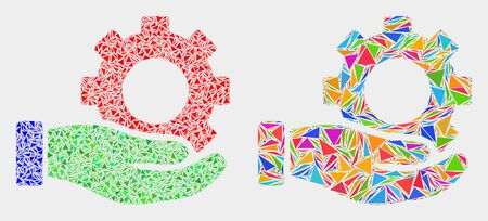 Gear service hand mosaic icon of triangle elements which have different sizes and shapes and colors. Geometric abstract vector illustration of gear service hand.