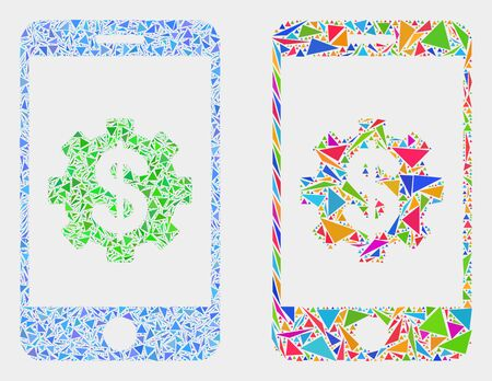 Mobile banking service mosaic icon of triangle items which have variable sizes and shapes and colors. Geometric abstract vector illustration of mobile banking service.